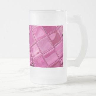 hot pink tile abstract coffee mug