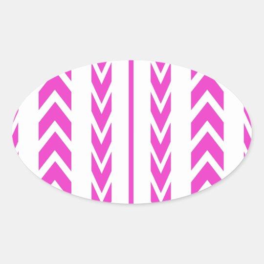 Hot Pink Tire Tread Oval Sticker