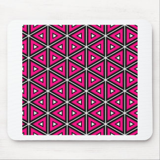 Hot pink triangles mouse pad