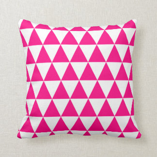 Hot Pink Triangles Throw Pillow