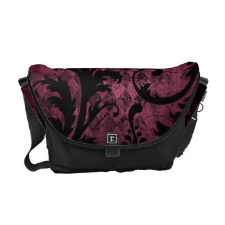 Hot Pink Trim Vintage Damask Swirl Argyle Pattern Courier Bags