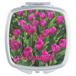 Hot Pink Tulips Bright Colorful Personalized Makeup Mirror