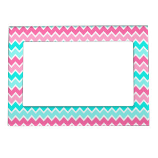 Hot Pink Turquoise Blue Ombre Chevron Photo Frame Magnets