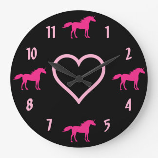 Hot Pink Unicorns and Pink Heart on Black Large Clock