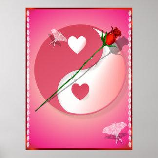 Hot Pink Valentine Yin-Yang-RoseBagsBags Posters