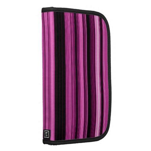 Hot Pink Vertical Stripes Large Rickshaw Folio Organizer