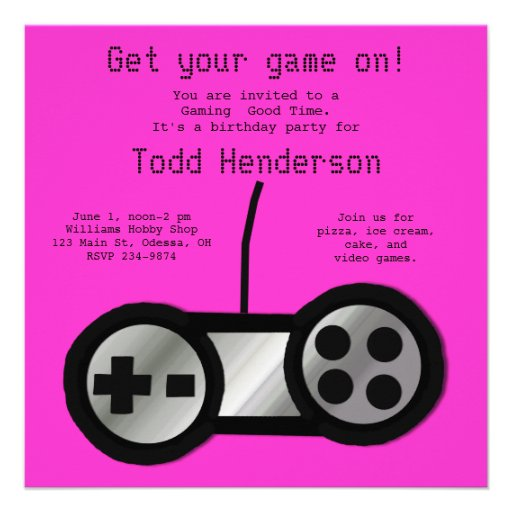 Hot Pink Video Gaming Party Invitation