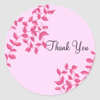 Hot Pink Vines Thank You Classic Round Sticker