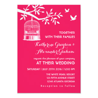 Hot Pink Vintage Bird Cage Wedding Invitation