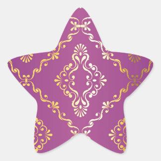 Hot pink,vintage,damask,gold,pattern,antique,ruby star sticker