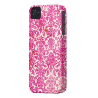 Hot Pink Vintage Grunge Damask iPhone 4s Case