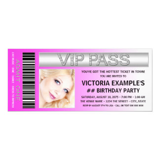 Hot Pink VIP Pass Admission Ticket Birthday Party 10 Cm X 24 Cm Invitation Card