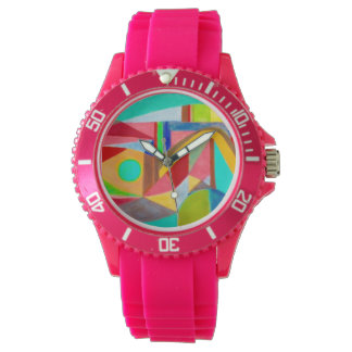 Hot pink watch with mod design
