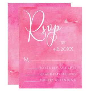Hot Pink Watercolor Elegant Typography RSVP Card