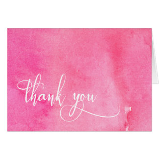 Hot Pink Watercolor Elegant Typography Thank You Card