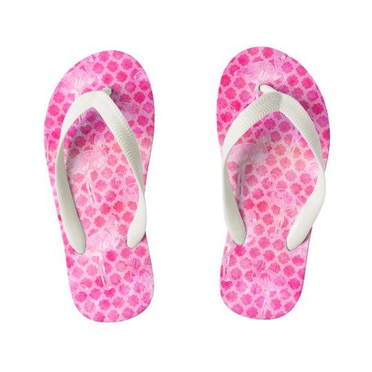 Hot Pink Watercolor Flamingo Moroccan Geometric Kid's Thongs