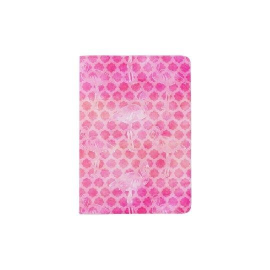 Hot Pink Watercolor Flamingo Moroccan Geometric Passport Holder
