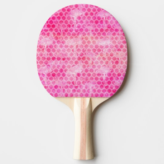 Hot Pink Watercolor Flamingo Moroccan Geometric Ping Pong Paddle