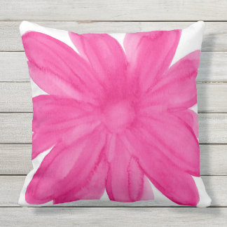 Hot Pink Watercolor Flower Throw Pillow