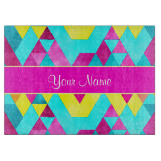 Hot Pink Watercolor Geometric Triangles Cutting Board