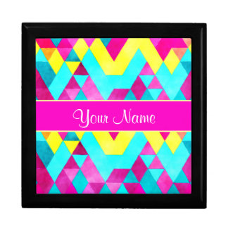 Hot Pink Watercolor Geometric Triangles Gift Box