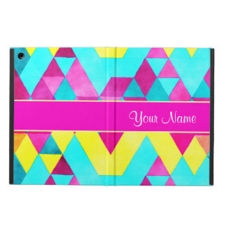 Hot Pink Watercolor Geometric Triangles iPad Air Case