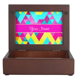 Hot Pink Watercolor Geometric Triangles Keepsake Box