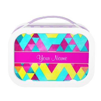 Hot Pink Watercolor Geometric Triangles Lunch Box
