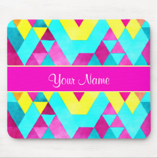 Hot Pink Watercolor Geometric Triangles Mouse Pad
