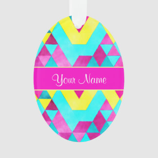 Hot Pink Watercolor Geometric Triangles Ornament