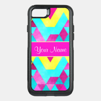 Hot Pink Watercolor Geometric Triangles OtterBox Commuter iPhone 8/7 Case