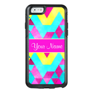 Hot Pink Watercolor Geometric Triangles OtterBox iPhone 6/6s Case