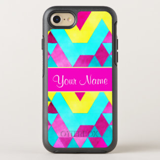 Hot Pink Watercolor Geometric Triangles OtterBox Symmetry iPhone 8/7 Case