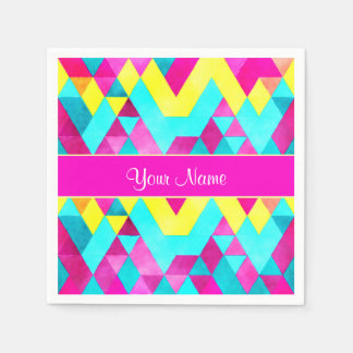 Hot Pink Watercolor Geometric Triangles Paper Napkin
