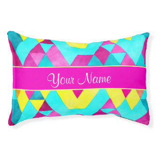 Hot Pink Watercolor Geometric Triangles Pet Bed