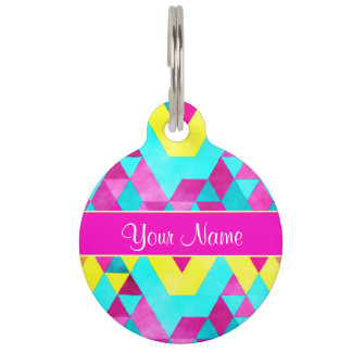 Hot Pink Watercolor Geometric Triangles Pet Tag