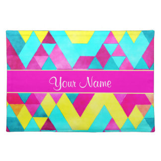 Hot Pink Watercolor Geometric Triangles Placemat