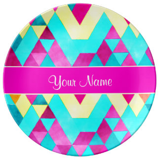 Hot Pink Watercolor Geometric Triangles Plate