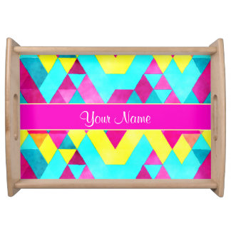 Hot Pink Watercolor Geometric Triangles Serving Tray