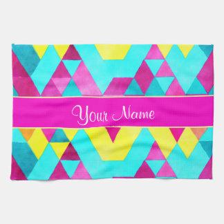 Hot Pink Watercolor Geometric Triangles Tea Towel