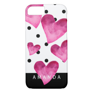 Hot pink watercolor hearts on black polka dots iPhone 8/7 case