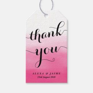 Hot Pink Watercolor Ombre Thank You