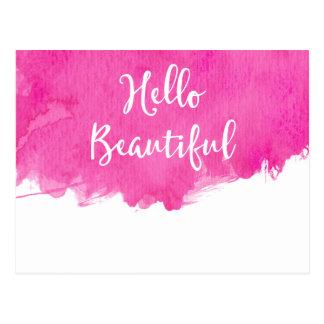 Hot Pink Watercolor Paint Splatter Hello Beautiful Postcard