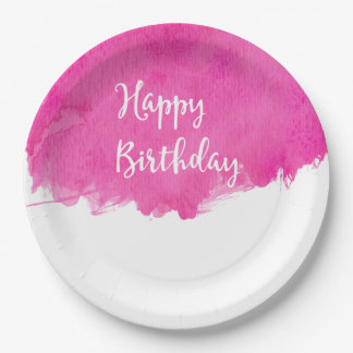 Hot Pink Watercolor Paint Swatch Birthday Paper Plate