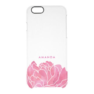 Hot Pink Watercolor Peony Petals Personalized Clear iPhone 6/6S Case
