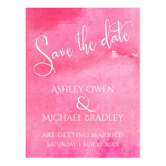Hot Pink Watercolor Typography Save the Date Postcard