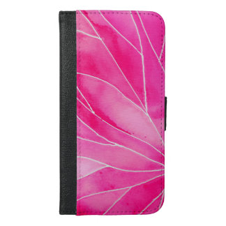 Hot Pink Watercolour Break iPhone 6/6s Plus Wallet Case