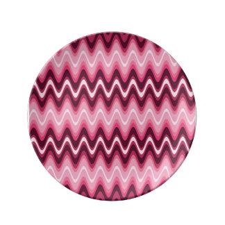 Hot Pink Waves Porcelain Plates