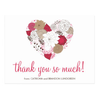 Hot Pink Whimsical Floral Heart Thank You Postcard