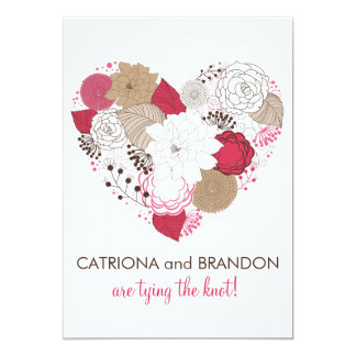 Hot Pink Whimsical Floral Heart Wedding Invitation